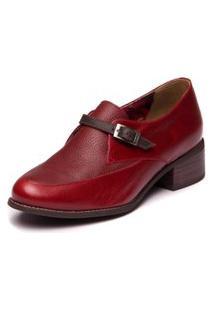 Sapato Social Feminino Vermelho - Amora / Floater Vinho / Cafe 3012