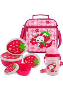 Kit Escolar Lancheira Necessaire Térmica Kit Pote Lanches Garrafa Squeeze Rosa
