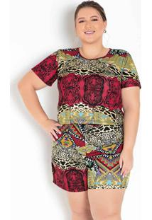 Conjunto Estampado Blusa E Short Plus Size