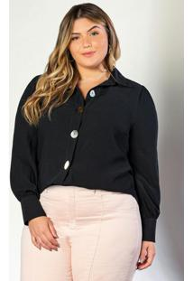 Camisa Manga Longa Em Double Crepe Preto