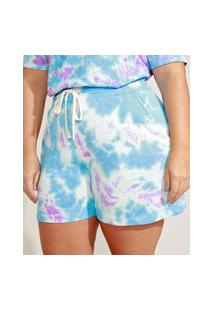 Short De Moletom Feminino Plus Size Mindset Cintura Alta Estampado Tie Dye Com Bolsos Azul Claro