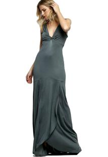 Vestido Para Noite Energia Fashion Liso Cinza