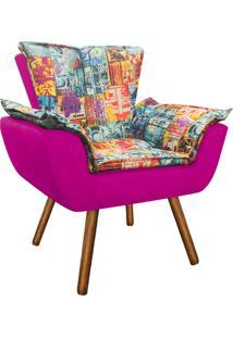 Poltrona Decorativa Opala Suede Composê Estampado Street D05 E Pink - D'Rossi