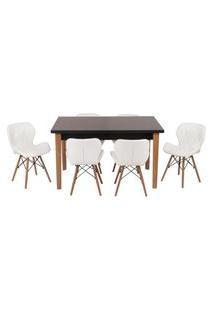 Conjunto Mesa De Jantar Luiza 135Cm Preta Com 6 Cadeiras Slim - Branco