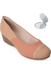 Sapato Modare Anabela E Espelho Md20-7014 - Feminino-Nude