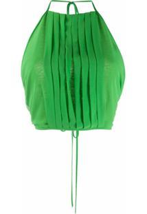 Irina Schrotter Blusa Cropped Com Pregas - Verde