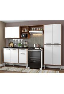 Cozinha Completa Compacta Xangai Plus Multimóveis Nogueira/Branco