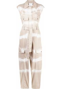 Stella Mccartney Macacão Jeans Tie-Dye Com Cinto - Neutro
