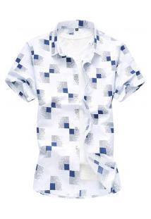 Camisa Masculina Estampa Xadrez Manga Curta - Branco