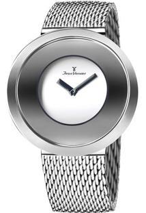 Relógio Analógico Com Relevo Jv00078A- Prateado- Jeajean Vernier