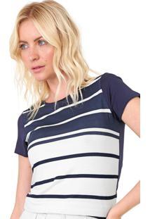 Blusa Marialícia Listrada Azul-Marinho/Off-White