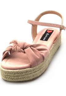 Salomé Espadrille Love Shoes Anabela Plataforma Corda Nó Rosa