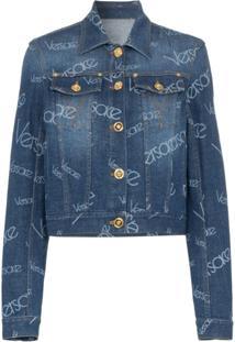 Versace Jaqueta Jeans Com Estampa Logomania - Azul
