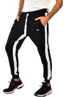 Calça Moletom Brohood Jogger Masculina - Masculino-Preto+Bege