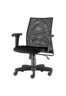Cadeira Liss Com Bracos Curvados Assento Crepe Base Metalica Preta - 54490 Preto
