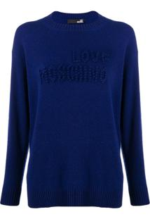 Love Moschino Suéter Com Logo - Azul