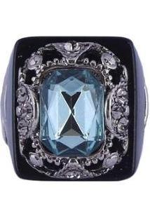 Anel Armazem Rr Bijoux Cristal Quadrado - Feminino-Azul