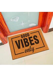 Capacho De Vinil Good Vibes Only Amarelo