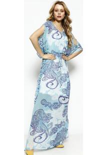 49a1e3301b Privalia. Vestido Longo Com Amarração- Azul ...