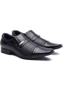 Sapato Social Manutt Couro 0505 Laser Masculino - Masculino-Preto
