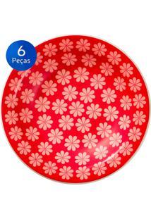 Conjunto De Pratos Fundos 6 Peças Floreal Renda - Oxford - Vermelho