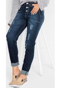 Calça Cigarrete Jeans Destroyed Azul Escuro