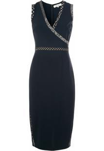 Dvf Diane Von Furstenberg Vestido Gola V Com Padronagem - Azul