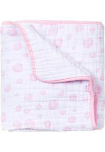 Cobertor Papi Soft Bolhas- Branco & Rosa Claro- 80X1Papi