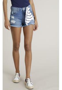 Short Jeans Feminino Reto Destroyed Com Bandana Azul Médio