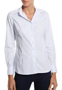 Camisa Dudalina Manga Longa Tricoline Fio Tinto Gola Composê Feminina (Listrado, 44)