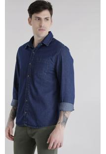 Camisa Jeans Azul Escuro