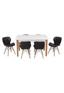 Conjunto Mesa De Jantar Luiza 135Cm Branca Com 6 Cadeiras Slim - Preto