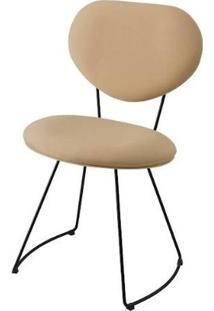 Cadeira Pimpom Bege Base Curve Preta 51Cm - 62062 - Sun House