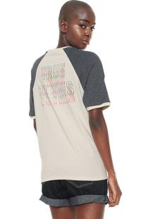 Camiseta Volcom Raglan Estampada Bege