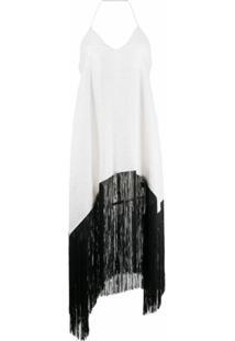 Antonella Rizza Vestido Iride Com Franjas E Abertura Na Parte Posterior - Branco