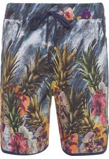 Bermuda Masculina Com Viés - Abacaxi Floral