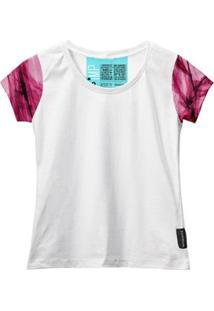 Camiseta Baby Look Feminina Algodão Estampa Estilo Leve Moda - Feminino-Rosa+Branco