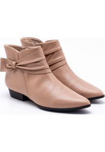 Ankle Boot Couro Areia