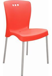 Cadeira Tramontina Mona Pernas Anodizadas Vermelho/Caramelo