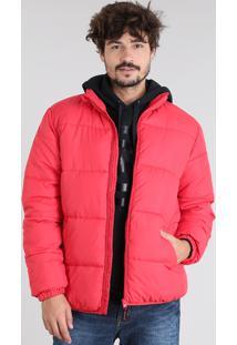 Jaqueta Masculina Puffer Com Bolsos Vermelha