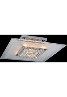 Plafon Sobrepor De Vidro Angra 10Cmx50Cmx50Cm Bella Iluminação Transparente E Cromado