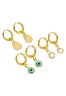 Kit Brinco Argola Dourada Olho Grego Azul.