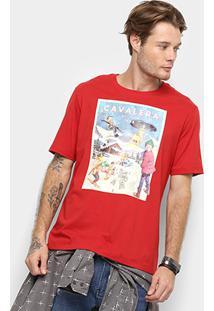 Camiseta Cavalera Ski Masculina - Masculino-Vermelho Escuro