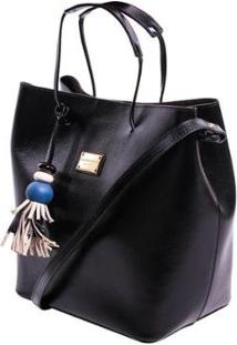 Bolsa Couro Preta - Smartbag - Unissex-Preto