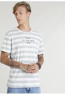 Camiseta Masculina Listrada Com Bordado Manga Curta Gola Careca Cinza