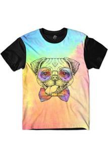 Camiseta Bsc Animais Hipster Pug Sublimada - Masculino-Rosa