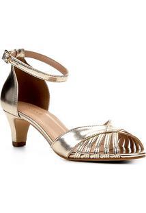 Sandália Shoestock Salto Baixo Metalizada Feminina - Feminino-Dourado