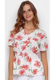 Blusa Dom Fashion Elástico Floral Feminina - Feminino-Branco