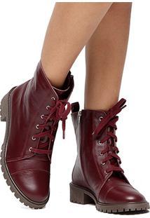 Bota Coturno Couro Shoestock Feminina - Feminino-Vinho