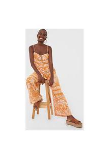 Macacão Dress To Pantalona Tribo Amarelo/Branco